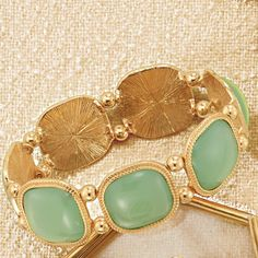 Reg price $19.99 Introducing the Mint Sorbet Collection: A refreshing blend of minty green stones with textured goldtone detail, just right for the new season! Complete the look with the necklace and earring set and ring. ~ Buy Avon Jewelry online at https://barbieb.avonrepresentative.com #jewelry #bracelet