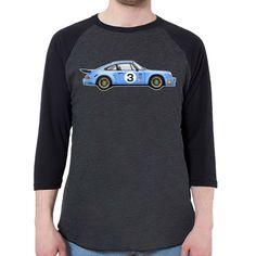 1974 Porsche 911 RSR Men's 3/4 Sleeve, Baseball Shirt