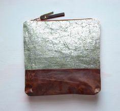 S I L V E R Metallic Leather Clutch. Large Make Up Bag. Green Tea Linen with Silver Foil. $128.00, via Etsy.