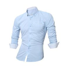 Long Sleeve Contrast Pocket Button Down Shirt