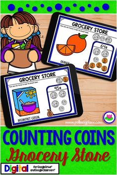 This Counting Coins Grocery Store shopping activity is designed for the interactive digital classroom.