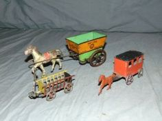 2 Tin Litho Penny Toys & Hot Hot Horse Cart