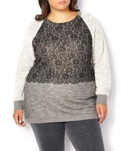ActiveZone Weekend Collection Lace Detail Sweatshirt | Penningtons | Update your casual weekend wardrobe with this lovely plus-size activewear sweatshirt! Made with a super soft cotton blend fabric, it features an alluring colour block print with lace detail at front, long sleeves, a scoop neck and a high-low hem. Pair it with a jogging pant or a jean!