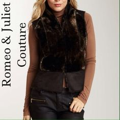 """Selling this """"Cozy R&J Couture Faux Fur Combo Vest"""" in my Poshmark closet! My username is: mrshljones. #shopmycloset #poshmark #fashion #shopping #style #forsale #Romeo & Juliet Couture #Jackets & Blazers"""