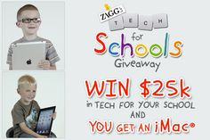 ZAGG's Tech for Schools Giveaway: Win $25,000 in technology for your favorite K-12 school, plus an iMac for yourself