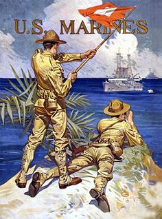WW I U. Marines This WWI poster reads simply, 'U. Marines' and shows two Marines signaling a ship at sea. The poster was illustrated by J. Leyendecker in The image was used on WWI recruiting Jc Leyendecker, Once A Marine, Marine Mom, Us Marines, World War One, Military Art, Military Soldier, Military Salute, Military Uniforms