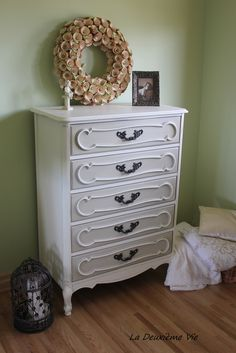 French Provincial Style High Boy Dresser - Old White and Country Gray Annie Sloan Chalk Paint by LDV