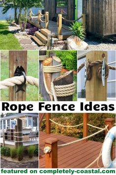 Rope fencing brings a nod to nautical to your backyard, or deck. Get inspiration from these rope fence ideas featured on Completely Coastal. Best Picture For beach house decor cottage For Your Taste Y Rope Fence, Pallet Fence, Diy Fence, Fence Ideas, Pallet Planters, Garden Pallet, Yard Ideas, Nautical Landscaping, Backyard Landscaping