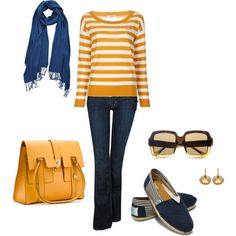 """Casual Blue and Yellow"" by hdarundel on Polyvore"