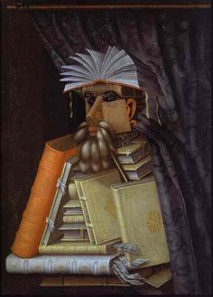 The Librarian. c.1566. Oil on canvas.Giuseppe Arcimboldo (1527–1593), Italian. Style: Mannerism (Late Renaissance).Genre: allegorical painting.Not only did Arcimboldo use fruits, vegetables, plants, and animals as objects for the compilations in his paintings, he also used inanimate objects such as books and papers. The Librarian is one such painting. In this painting, Arcimboldo's subject is obvious: a lover of books made up out of books.