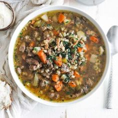 You will absolutely love this delicious beef and barley soup that is jam packed with root veggies, stew meat, and pearl barley. This soup can also be made in a crock pot or in an instant pot, but I prefer the stovetop for the best results. Stay warm during those cold winter months with this tasty hearty soup! #beef #soup Taro Recipes, Pork Chop Recipes, Soup Recipes, Drink Recipes, Dessert Recipes, Gourmet Appetizers, Easy Appetizer Recipes, Gourmet Recipes, Mulligatawny