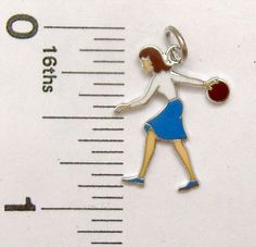 Charm Griffith Sterling Silver enamel FEMALE BOWLER sports #Griffith #Traditional