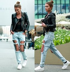 http://stylewithveni.blogspot.com ripped jeans street style fashion hair bun hairstyle leather ootd outfit look minimal fitness girl