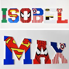 Super hero wooden name art Wooden Wall Letters, Letter Wall Decor, Diy Letters, Letter A Crafts, Painted Letters, Letter Art, Wooden Walls, Wood Letters Decorated, Superhero Letters