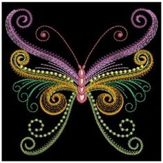 Neon Swirls Butterfly Embroidery Designs, Machine Embroidery Designs at EmbroideryDesigns.com