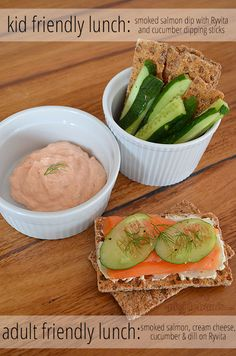 Adult friendly lunch and kid friendly lunch using the same basic ingredients - Ryvita, smoked salmon, cream cheese and cucumber.