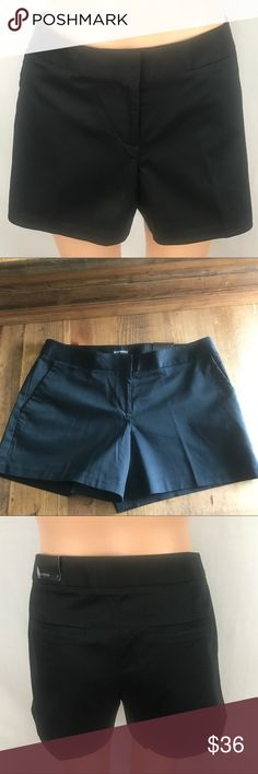 """Express black shorts size 6. These Express black shorts are NWT and a size 6. Waist is approx 16"""", rise is approx 9"""", inseam is approx 4"""". All measurements are taken lying flat. 2 pockets in front, 2 pockets in back, shorts have a button and 2 metal prong closures in front.These shorts are so cute, they are not shiny but have a bit of a sheen to them. NWT condition! Smoke free, pet friendly🐶😺 home. Express Shorts"""