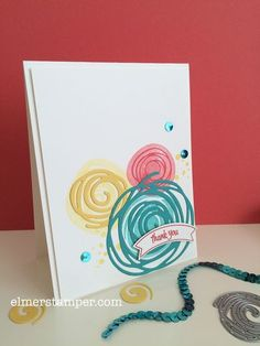 handmade card ... Swirly Bird Sneak Peek ... luv the bright color combo of pink, yellow and teal ... Stampin' Up!