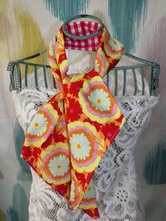 Red Flame Flower or Sweet Lilac Paisley Ascot Scarf by joliefemme
