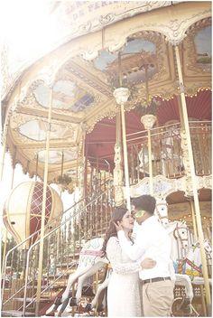 Paris carousel  | Photography © Natalie J Weddings via French Wedding Style