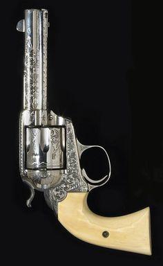 A custom engraved Colt Bisley Model single action revolver Serial no. 307056 for 1908.