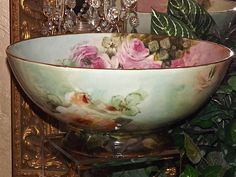 Beautiful Limoges Punch Bowl Gorgeous Colors with Pink/White/Apricot Roses