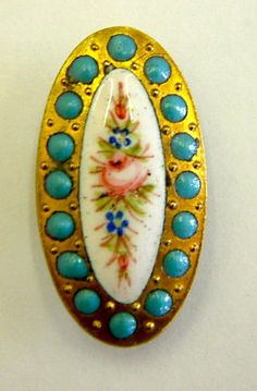 One Large Antique Oval Floral Enamel Button with Turquoise Pierreries Border.
