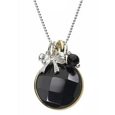 Chrysalis Silver Gold Plated Jet Black Necklet CRNM39SILV14-40