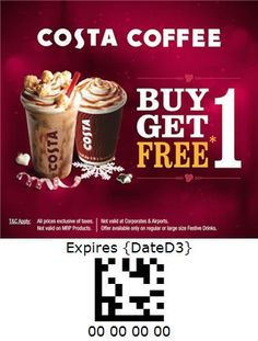 Costa Coffee - India Costa Coffee, Coupon, India, Goa India, Costa Cafe, Coupons, Indie, Indian