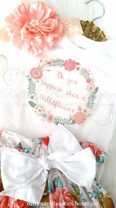 8aebc643a Do you Suppose she's a Wild Flower Boho Baby Onesie/Shirt - Floral Wreath -  Boho Shirt - Peach Floral Wreath - Etsy Baby Boho Shirt