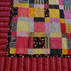 Twin size Pink yellow and black quilt by 4quiltsandmore on Etsy, $139.00