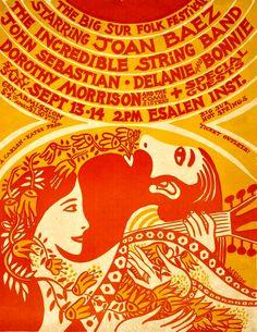 Poster by Bob Muson, 1969, Big Sur Folk Festival.
