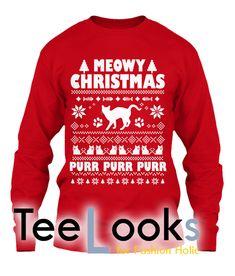 Meowy Ugly Christmas Sweatshirt #tshirt #tanktop #hoodie #sweatshirt #quote #trending #bestselling #topselling #nerd #hobby #geek #meme #humor #funny #cool #lifestyle #text #meowychristmas