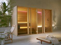 Sauna / turkish bath YOKU SH By EFFEGIBI design Marco Williams Fagioli Spa Design, Bath Design, House Design, Design Ideas, Banquettes, Sauna Hammam, Home Spa Room, Aspen Wood, Steam Bath