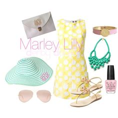 Marley Lilly Derby Days: Pink Lemonade by marleylilly on Polyvore featuring MSGM, Kate Spade, Ray-Ban and OPI