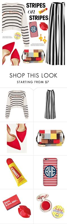 """stripes on stripes"" by freshprincesse ❤ liked on Polyvore featuring Topshop, Michelle Mason, Marni, Carmex, Mark & Graham, Avon, Supergoop! and Oscar de la Renta"