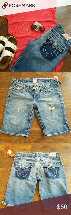 NWT True Religion Joey Shorts Distressed never worn Authentic True Religion Joey Shorts. Perfect with flip flops for running errands or vacation! ?? perfect condition. True Religion Shorts Jean Shorts