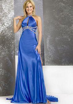 Halter Elastic Silk Like Satin A line Floor Length Empire Sleeveless Evening/ Prom Dress - Angeldress.co.uk
