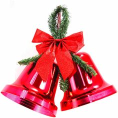 """Christmas Decor 9.5"""" Double Bell Red Indoor Outdoor Use By Holiday Time NEW 