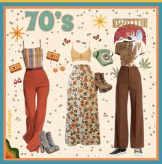 70s Outfits, Hippie Outfits, Mode Outfits, Cute Casual Outfits, Vintage Outfits, Summer Outfits, Fashion Outfits, 70s Inspired Fashion, 70s Fashion