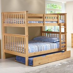 Camaflexi Santa Fe Mission Tall Bunk Bed Full over Full - Attached Ladder - SF702_CP