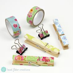 Back to School decorated stationery - crafty ideas for making pretty pegs and binder clipsl by Hazel Fisher Creations