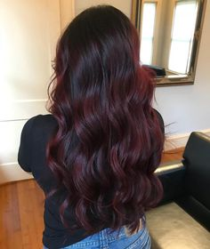 38 Lovely Shades of Burgundy Hair to Rock this Winter and Fall Dark Red Hair, Hair Color For Black Hair, Cool Hair Color, Brown Hair Colors, Dark Burgundy Hair Color, Burgundy Balayage, Dark Cherry Hair Color, Plum Black Hair, Dark Maroon Hair