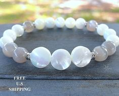 Mother of Pearl Silver Moonstone  gemstone by LifeForceEnergyShop