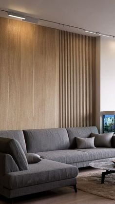 Timber Cladding & Slatted Wood Furniture – Winter 2019 Seasonal Edit — The Savvy Heart – Tv Room Interior Walls, Living Room Interior, Home Interior Design, Wall Cladding Interior, Interior Lighting, Living Room Modern, Living Room Designs, Timber Cladding, Timber Slats