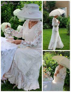 lovely Carolyn in her garden at Downton Abbey inspired tea ~ Carolyn aiken, Aiken House & Gardens: prince Edward island, canada