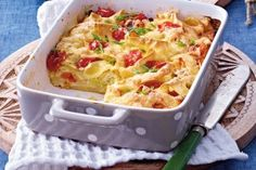 Nudelauflauf mit Mozzarella und Tomaten Rezept Easy Cake Recipes, Easy Healthy Recipes, Veggie Recipes, Pasta Recipes, Snack Recipes, Ham Recipes, Kids Meals, Easy Meals, Musaka