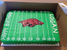 Football Arkansas razorback birthday cake