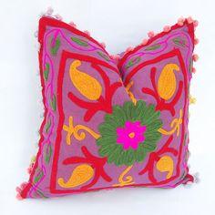 Indian Handmade Decorative Cotton Pillow Cases Uzbekistan Style Suzani Cushion D #Vandanahandicraft #AntiqueStyle