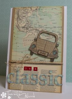 "handmade card ... ur a classic ... collage look ... map paper background ... paper pieced VW bug stamp ... luv the crystal effects headlights ... ""classic"" die cut from plaid paper ... great card!!"